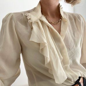 Vintage Cream Ruffled Blouse